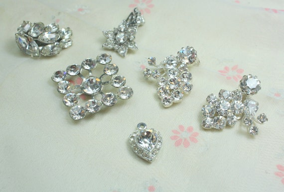 Destash Craft Lot of Vintage  Clear Rhinestone Jewelry Pieces Perfect for Bridal Assemblage