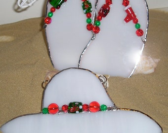 Holiday Christmas Bling Stained Glass Beach Hat Flops White Suncatcher