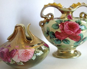 Antique SALE/ Reduced art pottery double handled porcelain Bavarian vases 1930