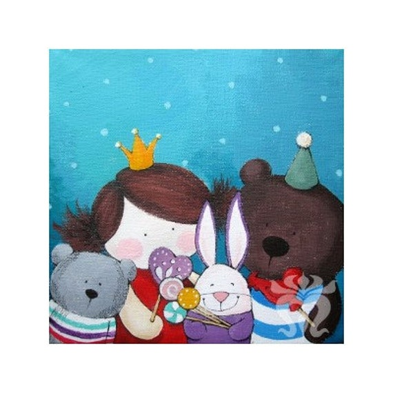 Illustration print painting wall art child children colorful nursery decoration bear doll rabbit lollipop