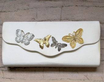 Purse Butterflies Off White Restyled Redesigned Assemblage Bridal Party Wedding Second Marriage Silver Gold Tone Accents Gift Guide Women