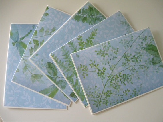 SALE Blank Note Cards Set of 5 Nature Themed