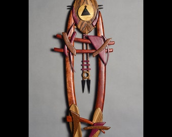 abstract wood pendulum clock