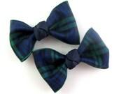 Girls Hair Clips - plaid hair clips - girls plaid hair bows - back to school bows - school uniform bows - navy blue hair bows - tartan