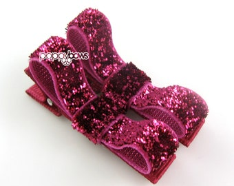 Glitter Hair Clips in Dark Pink - Toddler Hair Clips - Baby Hair Clips - No Slip Grip for Fine Hair Tuxedo Bow