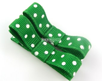 Polka Dot Baby Hair Clips Kelly Green - Set of 2 - Matching Pair Alligator Barrettes for Babies Toddlers Girls Polka Dot Tuxedo Bow
