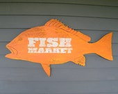 Fish Market Sign Snapper Vintage Inspired Trade Sign Wall Art Beach Coastal Sign