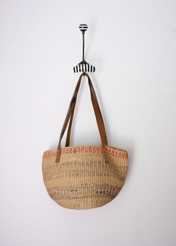 Leather Strap Sisal Woven Purse