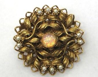 Vintage faux opal pearl pin brooch