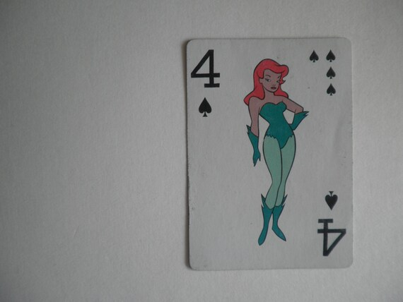 single vintage BATMAN playing card . dated . Poison Ivy
