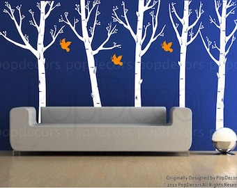 "Set of Five Super Big Trees with Flying Birds (102"" H) - Wall Decals Murals Stickers Home Decor by Pop Decors"