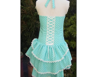 bustle dress in spearmint and white polka dot sweet lolita dress with corset laced back