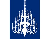 SALE - Chandelier - 11x17 Large Scale Chandelier Silhouette Print - Navy Blue and White