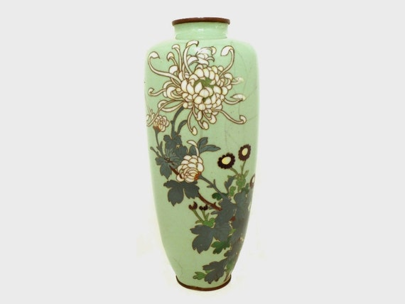 Vintage Japanese Cloisonné Vase: Pale Celadon Green Enamel with Ornate White Chrysanthemum Design, Ando 20th Century Asian Art