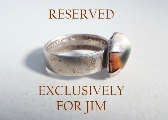 RESERVED for JIM - Vintage Cat's Eye Operculum 1943 Australian Sterling Shilling Ring Size 5 to 5-1/4