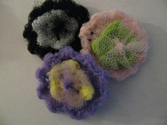 Crochet Flower Scrubbies - Set of 3