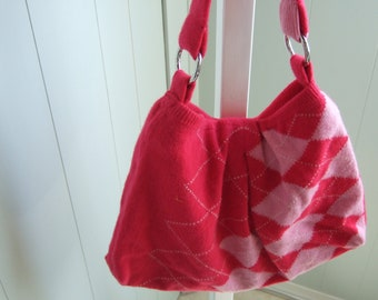 SALE * Upcycled Sweater Purse / Hot Pink Argyle Wool / SPRING Fashion * SALE