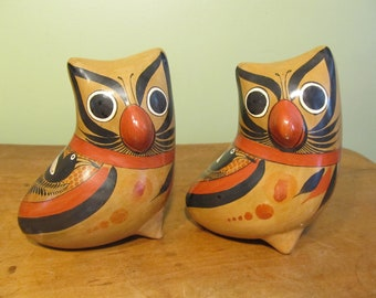 Set of Three Vintage Owl Figurines - Made in Mexico
