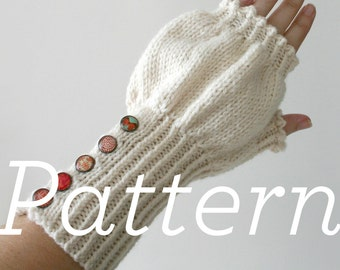 Knit Mitts Pattern // Buttoned Puff Fingerless Mitts - PATTERN ONLY - PDF