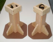 Set of Two 12 Inch Bed Risers  - All Wood Construction - UNfinished - Use under  Tables, Desks, Beds