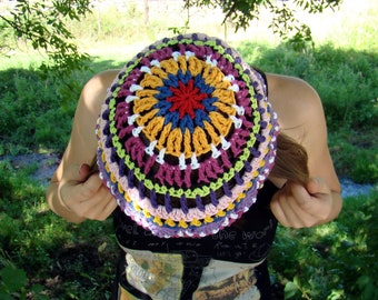 Color mess red, blue, pink, violet, purple, yellow, white, orange and green freestyle weekend lovely variegated crochet hat by olimpa