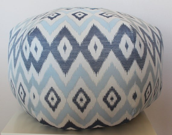 "24"" Ottoman Pouf Floor Pillow Claridge Tide Jacquard Moon Power Ikat Navy Light Blue Natural"