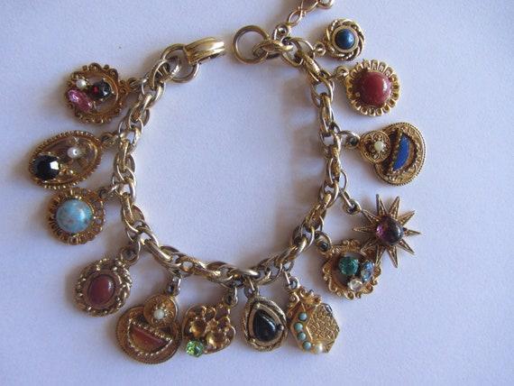 Vintage Gold Tone Charm Bracelet