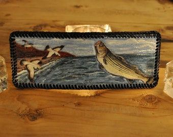 Handcarved Leather Men's Wallet with Striped Bass and gulls