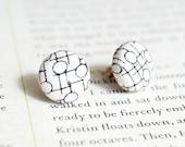 Geometric Button Earrings, Nickel Free Studs - UK Seller