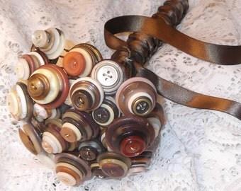 CLOSE OUT all BUTTON sale- Bridal Button bouquet - Vintage buttons Browns & Creams