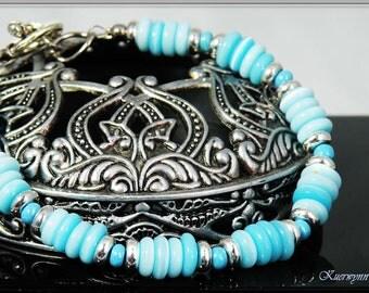 Blue Cat's Eye Quartz, Sterling Silver Bracelet, Something Blue, Bride, Blue Sky