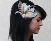 Ivory Light Brown Pheasant and Champagne Ivory Peacock Feather Boutique Bridal Hair Clip Fascinator Photp Prop