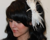Bridal Bow Style Feather Fascinator w/ White Goose and Ostrich Feathers Boutique Hair Clip Photp Prop
