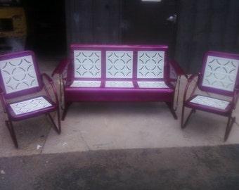 Piecrust Metal Vintage Porch Glider Set