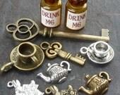 Wholesale 10pcs Steampunk key Alice in Wonderland necklace pendant charm Drink me bottle tea cup pot rabbit lot 100 antique silver bronze