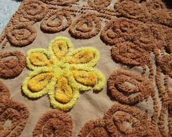 Yellow Flowers on Milk Chocolate Brown Vintage Chenille Bedspread FABRIC Piece 2 of 2