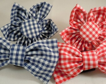 Dog Flower, Dog Bow Tie, Cat Flower, Cat Bow Tie -  Gingham, Blue or Red