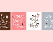 You are my sunshine Art Prints Pink Gray and Brown Art for Girls Nursery Art or Toddler Room Art 4-8x10 prints