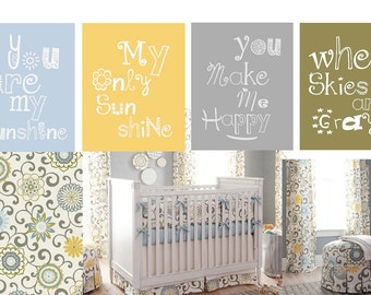 You are my sunshine Art Prints // Nursery Wall Decor // Spa Pom Pon Play Art Prints // Art for Kids Room // Cute Nursery Art //4 PRINTS ONLY