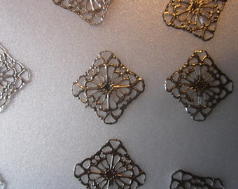 Iron Filigree Pendants 17mm 16 Pendants