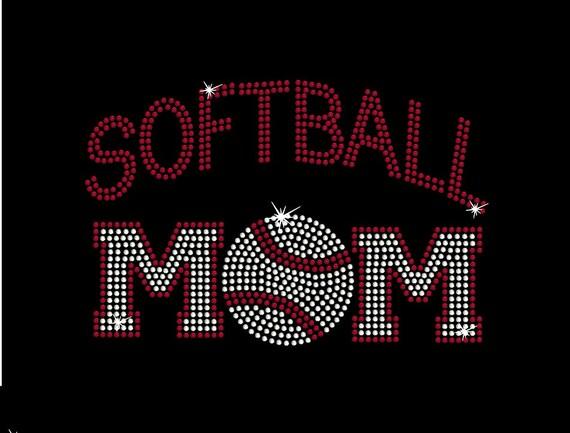 Women's rhinestone Softball Mom shirt