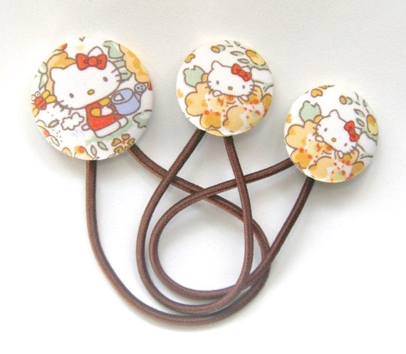 Hello Kitty x Liberty of London Hair Tie Set - Covered Button Ponytail Holders - Kawaii Cute Orange Yellow Brown