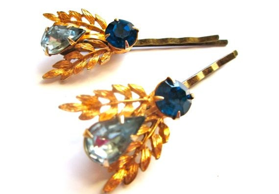 Bridal Blue Hair Accessories Vintage Jewelry Rhinestones Gold Bobby Pins Clips