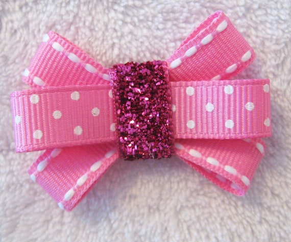 Pink and White Grosgrain Ribbon and Glitter Ribbon Itty Bitty Bow