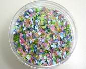 Island Meadow Frit Blend for Lampwork Bead Making 96 CoE Spring Green Lime Pink Rose Peach Sky Blue  Amber Teal Mint 2 oz. Jar