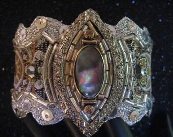 Cuff Bracelet Silver Pale Blue Crystals