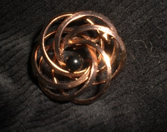 Vintage Copper Colored Swirly Circle Black Pin Brooch 1960s Mid Century Shiny