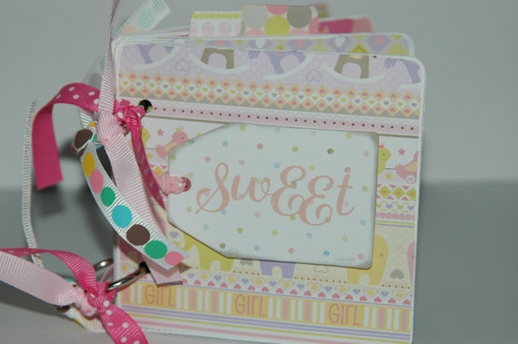 Baby Girl Brag Book Premade pages chipboard Mini Scrapbook Album- Baby Shower- Sweet Pea