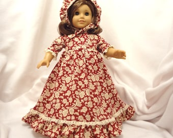 Cranberry red and beige print, long dress for 18 inch dolls, with beige lace trim.