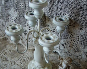 Shabby French Country Candleabra, five holder, chippy, creamy white, distressed
